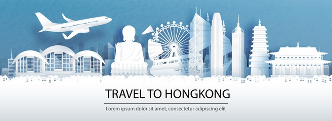 Wall Mural - Travel advertising with travel to Hong Kong concept with panorama view of city skyline and world famous landmarks in paper cut style vector illustration.