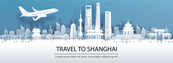 Fototapete - Travel advertising with travel to Shanghai concept with panorama view of Shanghai city skyline and world famous landmarks in paper cut style vector illustration.