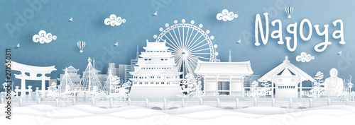 Fototapete Panorama view of Nagoya city skyline with world famous landmarks of Japan in paper cut style vector illustration.
