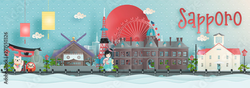 Fototapete Panorama view of Sapporo, Hokkaido city skyline with world famous landmarks of Japan in paper cut style vector illustration.