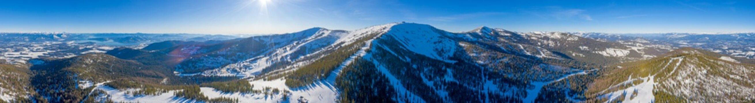 Schweitzer Idaho Ski Area 360 Panoramic Winter Mountain Aerial View