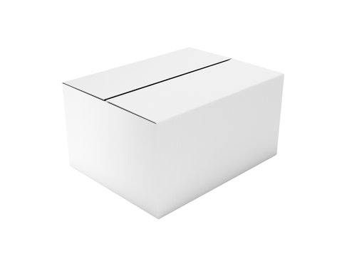 Closed white corrugated carton box. Big shipping packaging. 3d rendering illustration isolated