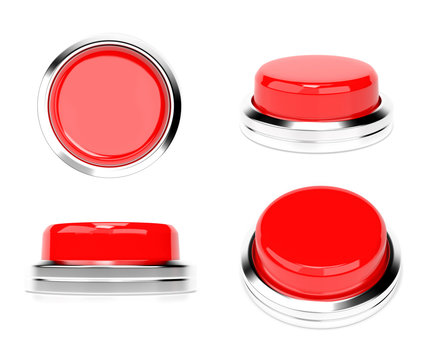 Red push buttons. Set of web icons. 3d rendering illustration isolated