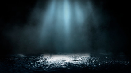 Fotomurales - Empty street scene background with abstract spotlights light. Night view of street light reflected on water. Rays through the fog. Smoke, fog, wet asphalt with reflection of lights.