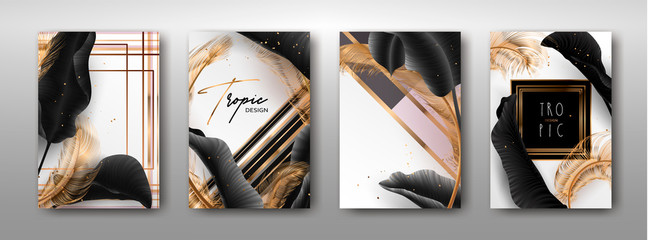 Wedding invitation with palm leaves, gold, black, white marble template, artistic covers design, colorful texture, modern backgrounds.Trendy pattern, graphic gold brochure.Luxury Vector illustration Wall mural