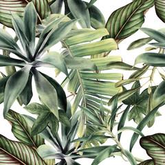 Fototapeta Seamless floral pattern with tropical piants, watercolor. obraz