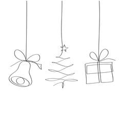 Obraz Dzwon, choinka i prezent. Rysunek jedną linią wektor - fototapety do salonu