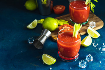 Bloody Mary cocktail in portion drink glasses