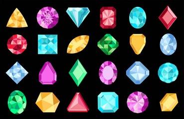 Gems isolated on white background. Vector jewels or precious diamonds gem set. Diamonds set. Colorful diamonds on black background.