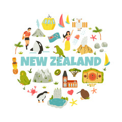 New Zealand abstract design with national symbols