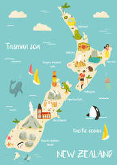 New Zealand illustrated map with bright icons