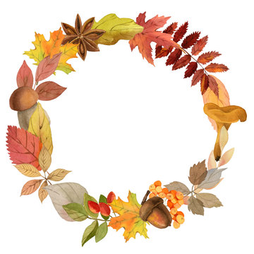 Watercolor autumn wreath