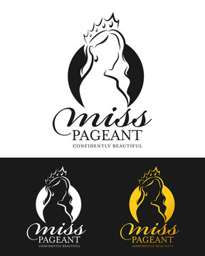 miss pageant logo with abstract line drawing woman wear crown and circle background vector design