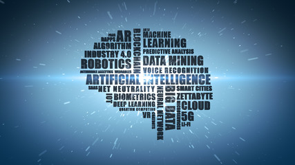 Blue Wordcloud featuring buzzwords associated with computing and technology concepts such as Artificial Intelligence and Big Data - Illustration