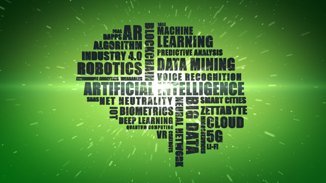 Green wordcloud featuring buzzwords associated with computing and technology concepts such as Artificial Intelligence and Big Data - Illustration