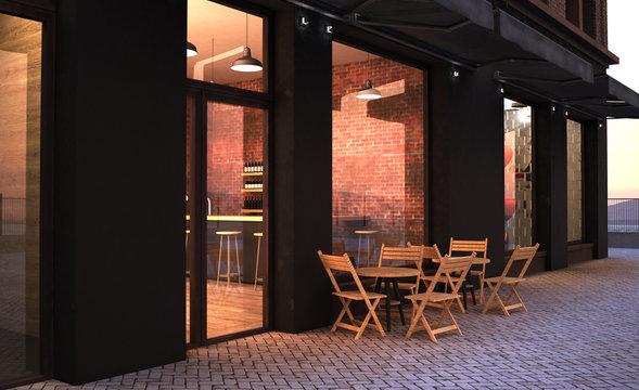 fashion retro cafe terrace storefront