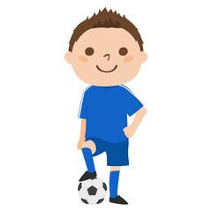 男の子のイラスト。サッカーのユニフォームを着た若い男の子。