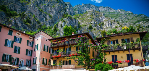 colorful houses in Limone sul Garda Wall mural