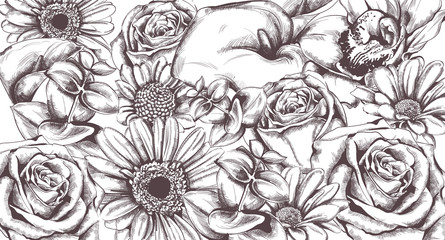 Vintage flowers pattern Vector line art. Roses and sunflower detailed textures