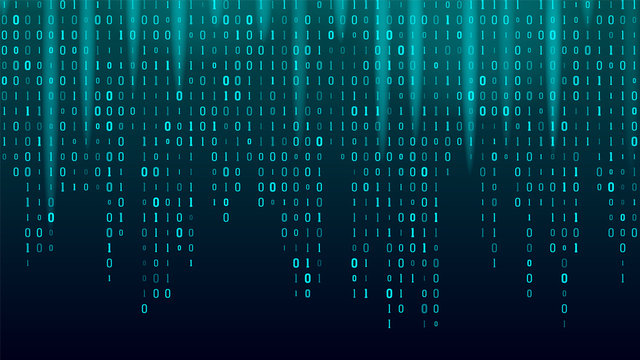 Creative Stream Of Binary Code Algorithm Vector. Abstract Concept Graphic Data, Technology, Decryption, Algorithm, Encryption Element. Computer Matrix Background Art Design Flat Illustration