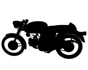 Wall Mural - Retro sports motorcycle one white background