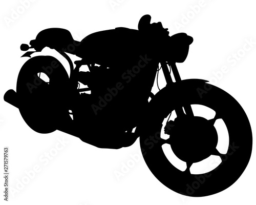 Wall mural Retro sports motorcycle one white background