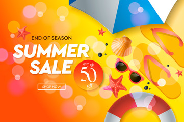 Summer sale template, web banner, vector illustration.