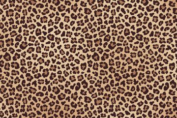 Leopard spotted beige brown fur texture. Vector