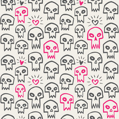 Hand drawn evil skulls with hearts seamless vector pattern. Cute cartoon skulls with sharp vampire teeth and shining hearts texture. Valentines day funny background. Theme of love and death design.
