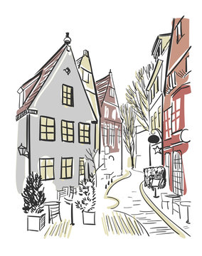 vector sketch illustration European city Germany town centre