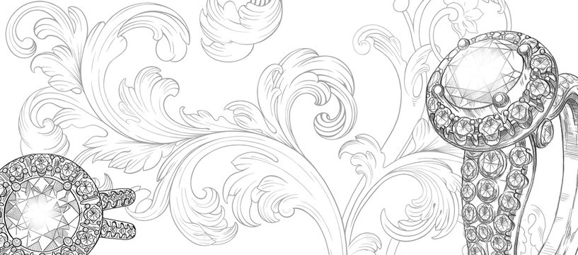 Jewelry theme. Hand-painted jewelery and baroque renaissance monogram on a white background. Isolated sketch. Textural background for creativity.