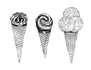 Ice cream in waffle cone. Natural products and healthy lifestyle, delicious products, a set of templates for menu design, restaurants and catering. Hand-drawn images