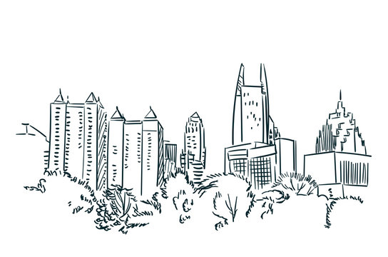 Atlanta USA sketch vector city line art