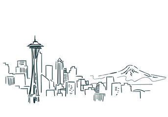 Seattle USA city sketch vector illustration line art Wall mural
