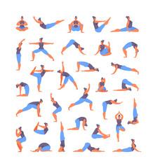Large set of yoga asanas