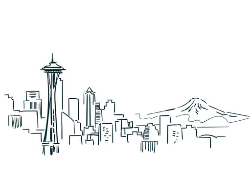 Seattle USA city sketch vector illustration line art
