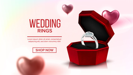 Diamond Platinum Ring In Box Landing Page Vector. Romantic Gift For Girl Annulus With Engraved Gem On Engagement Decorated Air Balloons In Shape Of Heart Website Or Web Page. Realistic 3d Illustration
