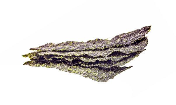 Dry seaweed,isolated on white background.