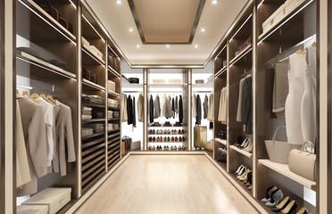 3d rendering of a Luxury modern beige dressing room