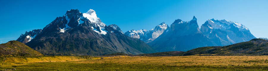 Panorama of the Cordillera Paine during sunny cloudless day. View from the southwest area of Torres del Paine National Park, Chile