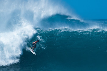 OAHU / USA - DECEMBER 05, 2019: famous Banzai Pipeline surf spot located on the North Shore of Oahu in Hawaii