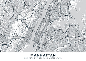 Manhattan map. Light poster with map of Manhattan borough (New York, United States). Highly detailed map of Manhattan with water objects, roads, railways, etc. Printable poster. Fotomurales