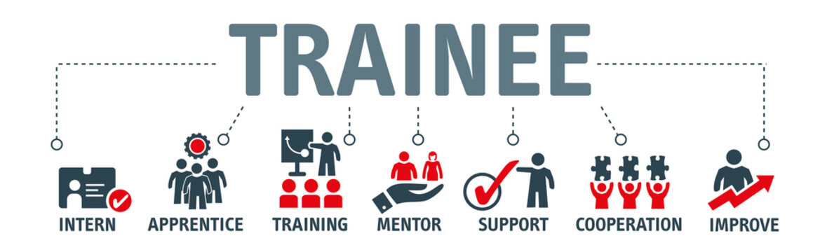 Banner trainee program vector illustration concept with icons
