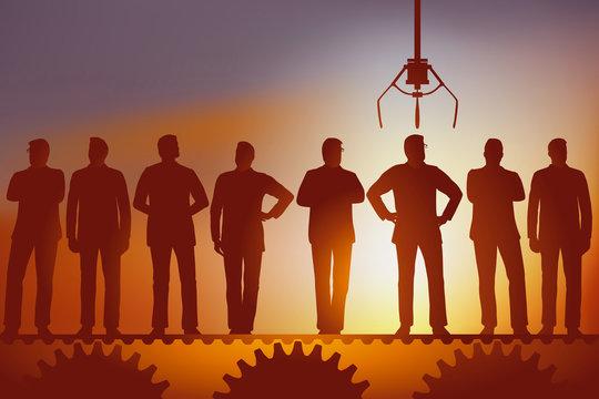 Concept de la sélection arbitraire de salariés, avec plusieurs hommes défilant sur un tapis roulant qui attendent d'être choisi pour une embauche, par une machine.