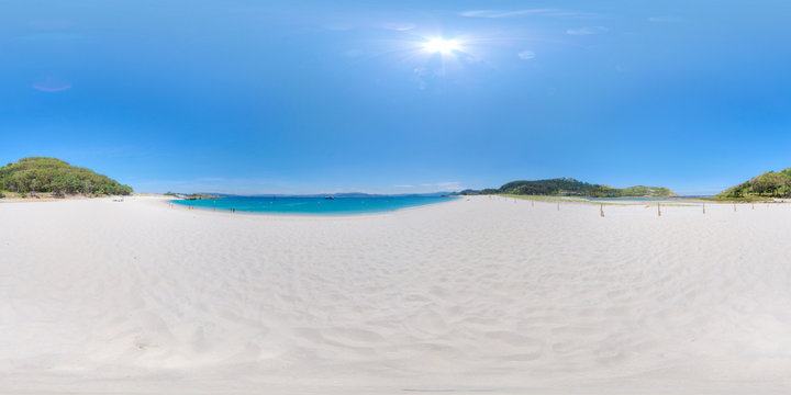 360 photo of the famous beach of Rhodes in the Cies Islands