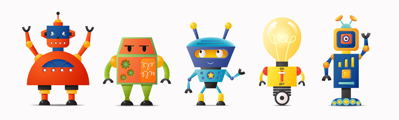 Set of cute vector robot characters for kids Fotomurales