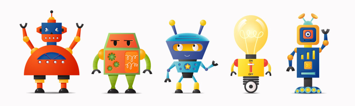 Set of cute vector robot characters for kids