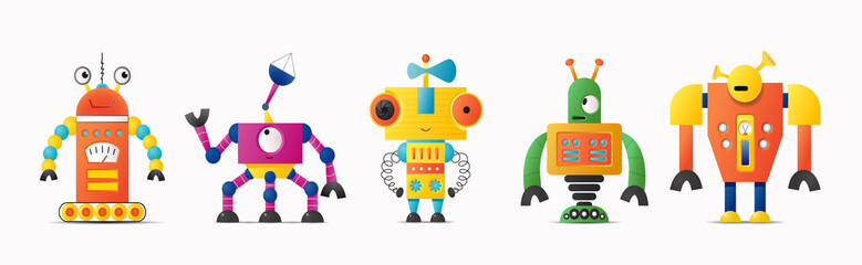 Set of cute vector robot or monster characters for kids