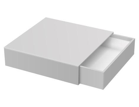 Slider box. Gray blank open box mock up