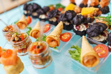Canapes and light meals, tapas on the table in the restaurant.